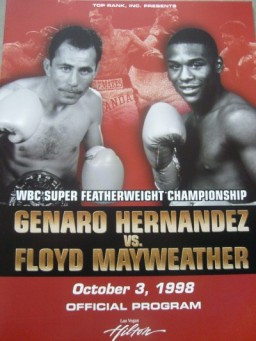 At the age of just 21, Mayweather put on an incredible performance by defeating World Champion Hernandez by TKO in round 8. Floyd showcased his ability to use every punch in the book with precise accuracy and dangerous speed