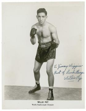 The great Willie Pep fought from 1940 - 1966 and is one of history's greatest. He was a masterful technician who practiced his footwork in the mirror. He would take small steps to get in and out of range of his opponents without getting hit. Floyd is similar in this respect but shows remarkable improvements on the footwork of Pep.